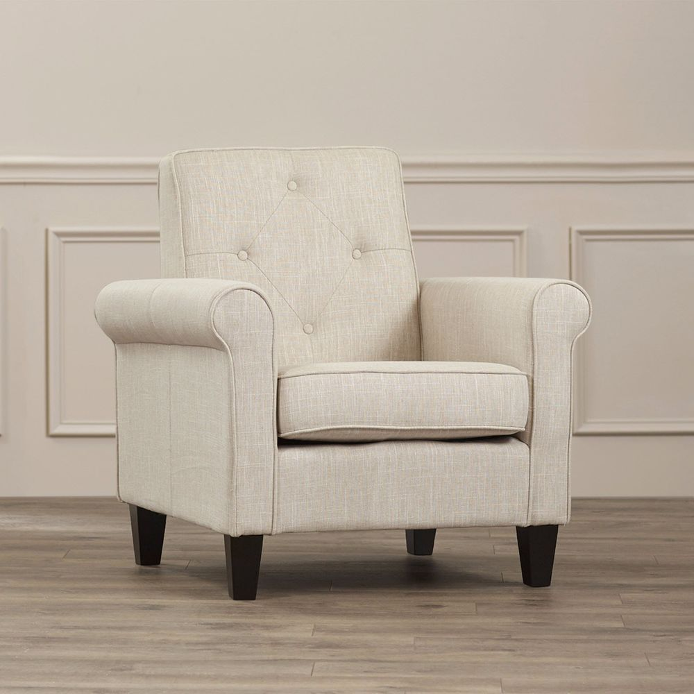 Upholstered Club Chair Beige Linen Tufted Living Room Furniture ...