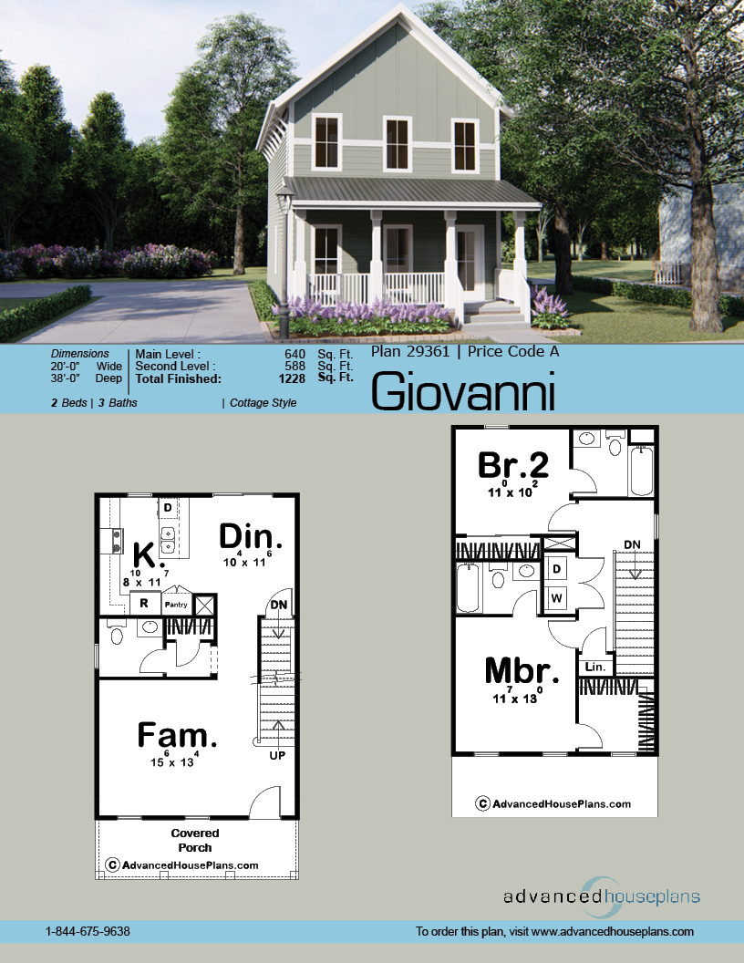 2 Story Traditional House Plan Giovanni Narrow House Plans Narrow Lot House Plans Sims House Plans