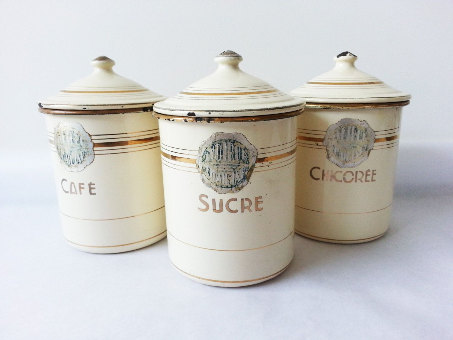 Captivating French Kitchen CANISTERS SET/ French Enamelware/ French Decor/French Kitchen/Shabby  Chic/ French Country /Rustic By PetitesChosesDeLaVie On Etsy