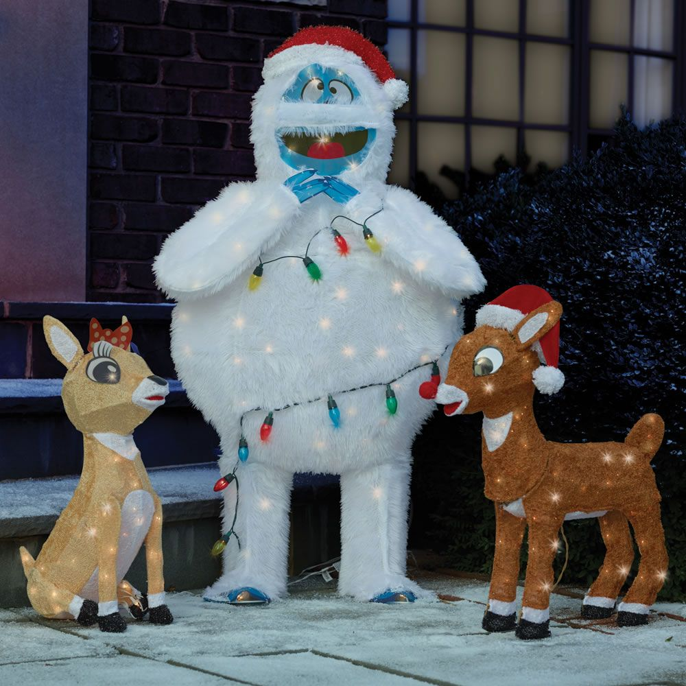 The Rudolph Clarice And Bumble Lawn Sculptures This Is Lighted Holiday Trio