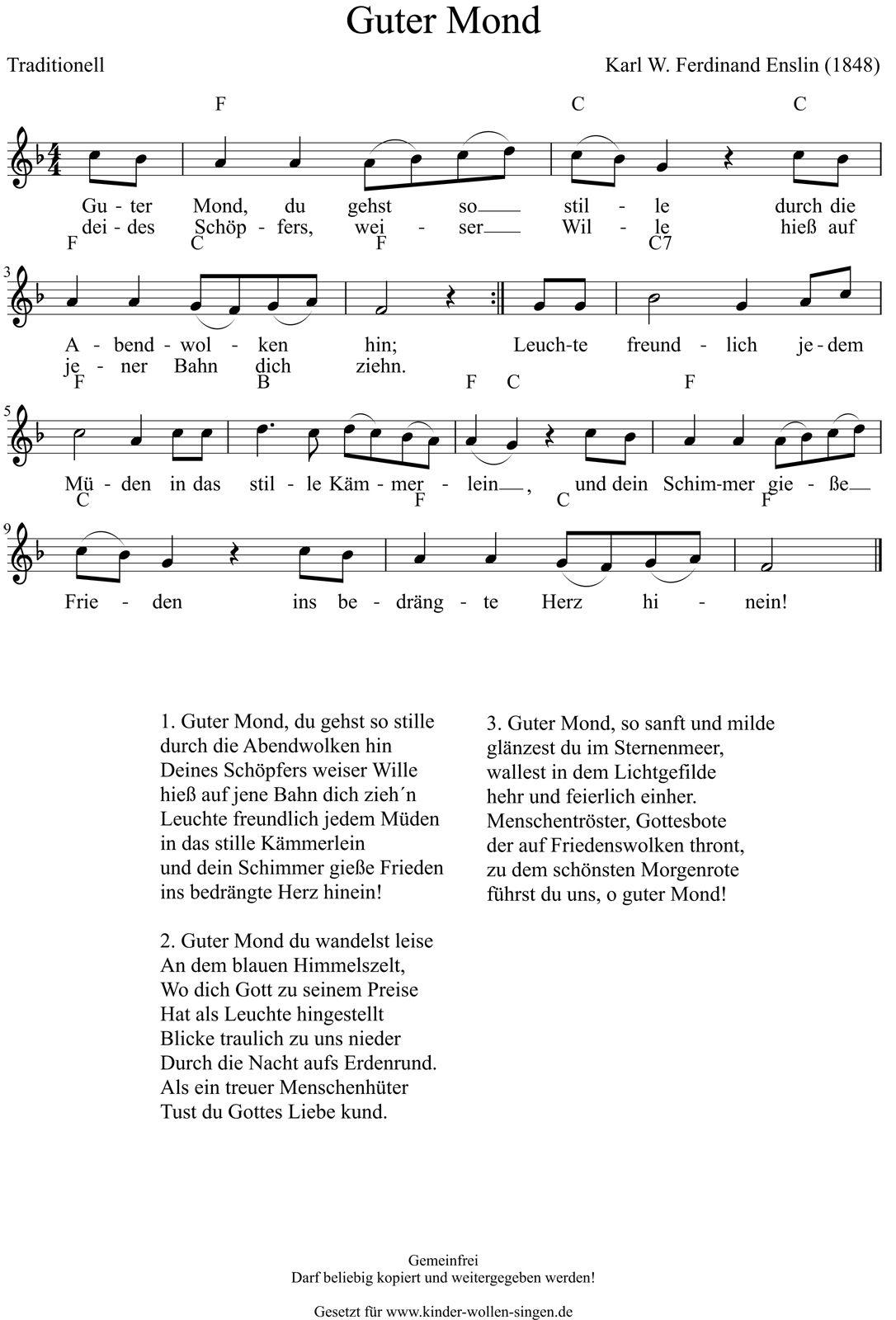 Guter Mond Du Gehst So Stille Kinderlieder Liederbuch