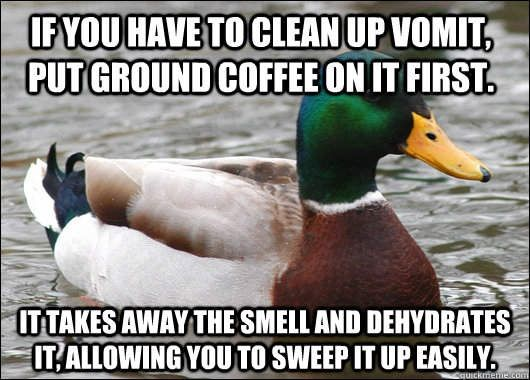 For some unknown reason I'm hearing a lot about cleaning puke today, thought I would share...
