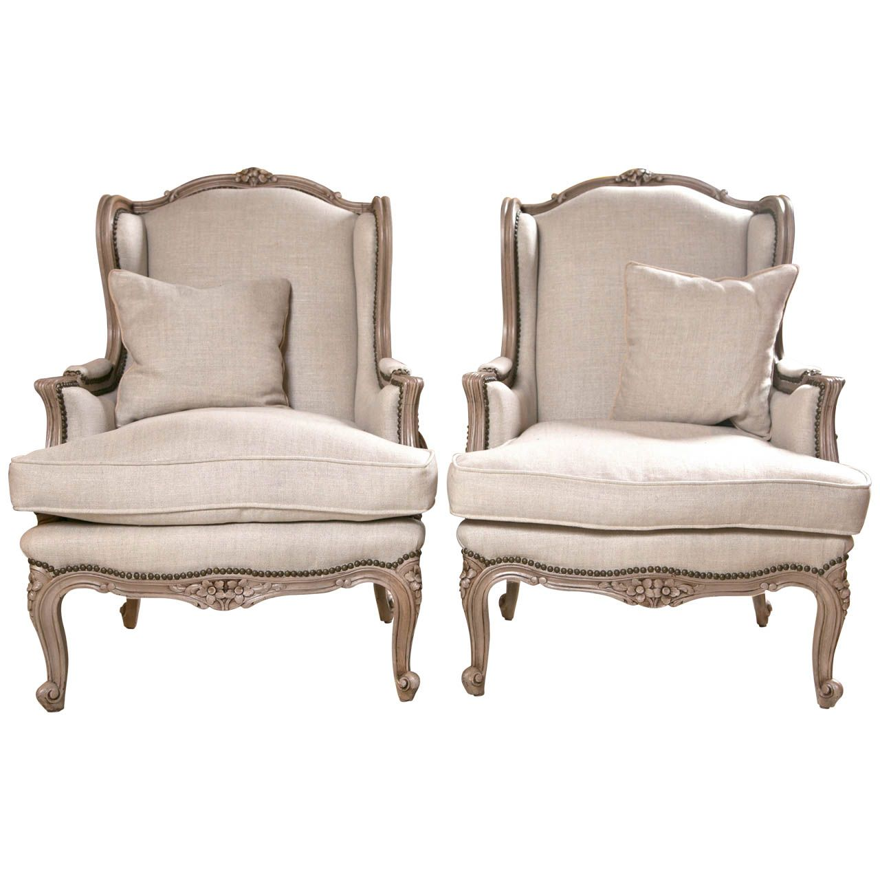 Pair of French Wingback Chairs In Linen Upholstery with Nail Heads ...