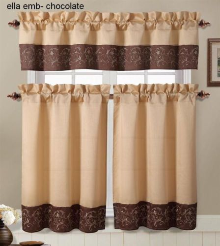 Brown and Gold Embroidered Kitchen Window Curtain Set : 2 Tier Panel, 1 Valance