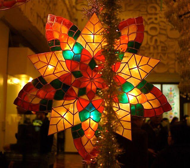 Parol Capiz Shell Christmas Lantern Parol Display At The