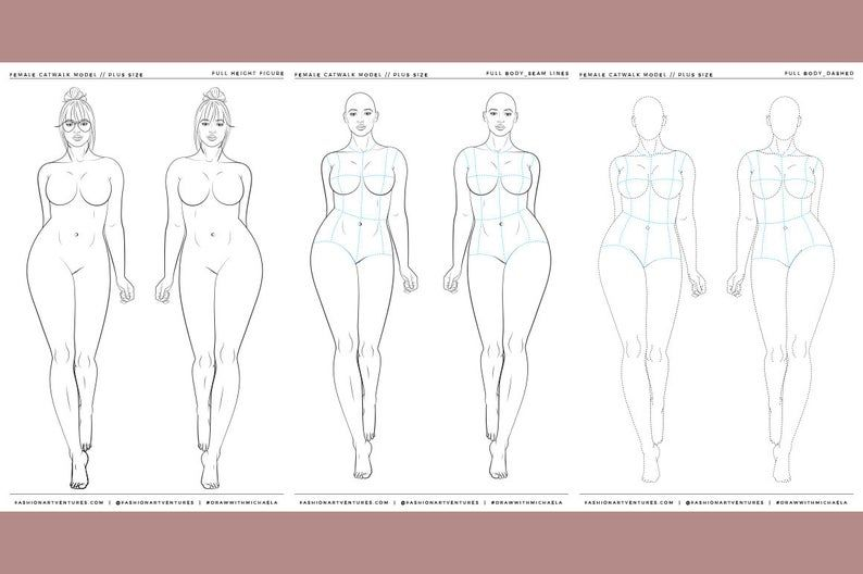 Plus Size Female Catwalk Model Printable Fashion Template Etsy Fashion Illustration Template Fashion Figure Templates Fashion Templates