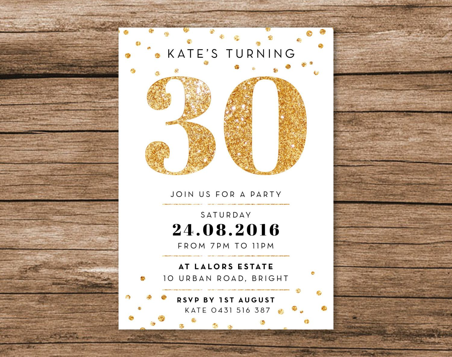 Gold 30th Birthday Invitation A6 Digital File by MelonInvitations ...