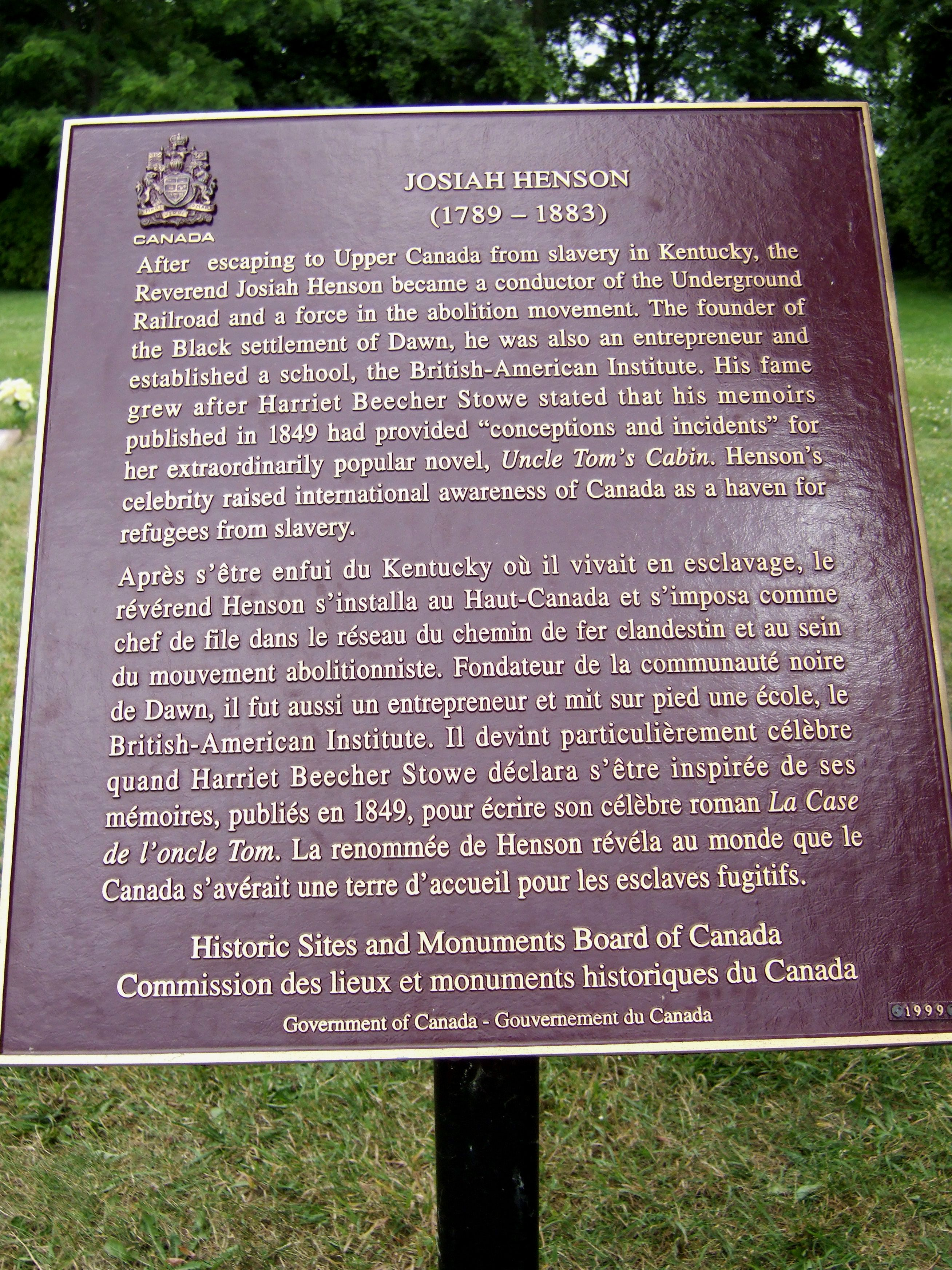Josiah Henson Memorial Plaque at Henson Family Cemetery, Chatham-Kent Municipality, Ontario