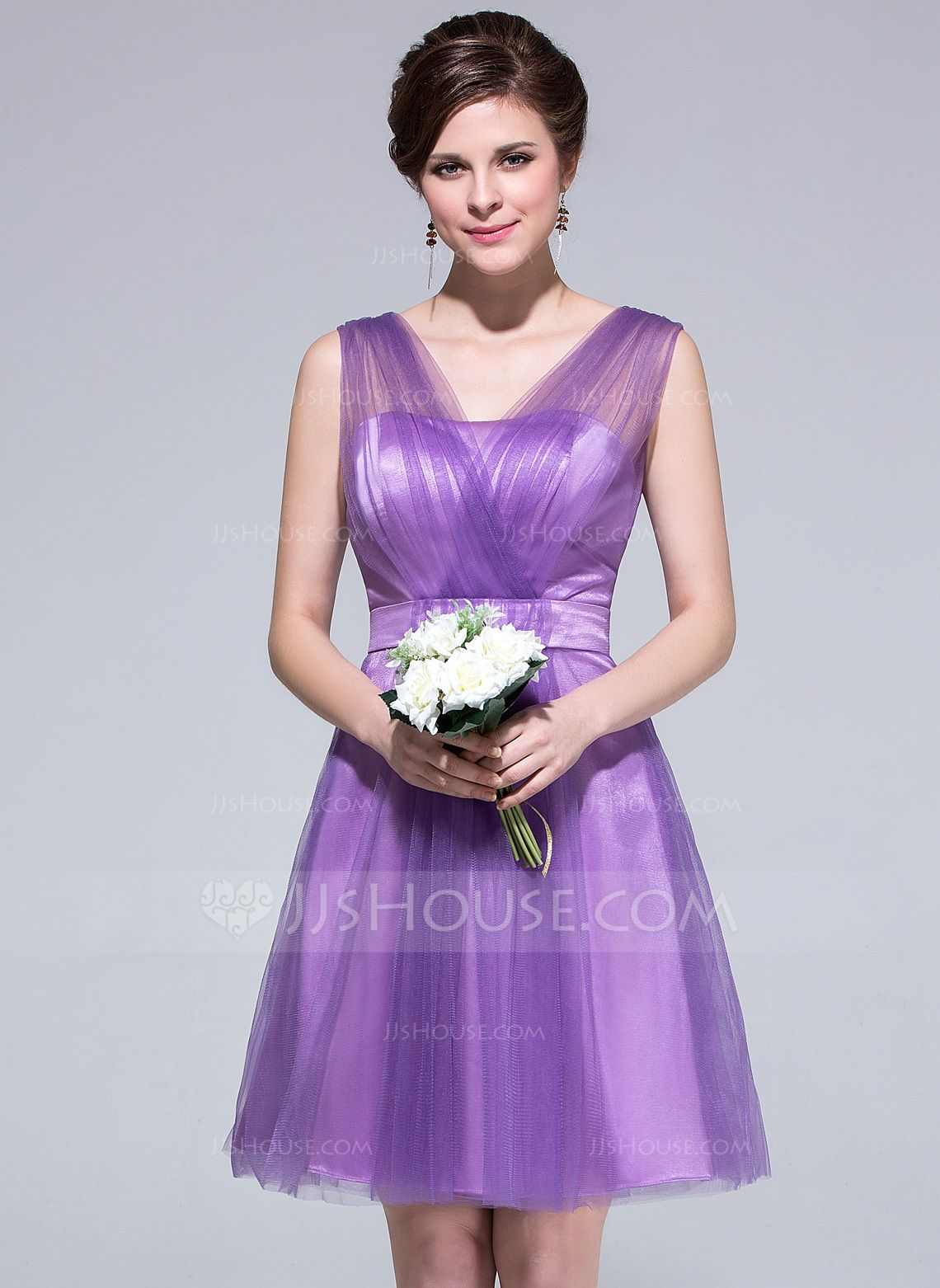 A-Line/Princess V-neck Knee-Length Tulle Charmeuse Bridesmaid Dress ...