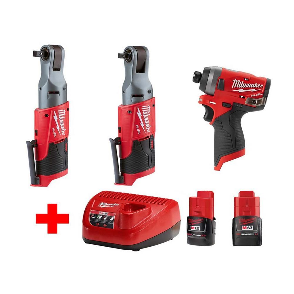 Milwaukee M12 Fuel 12 Volt Lithium Ion Brushless Cordless Ratchet Impact Combo Kit 3 Tool With 2 2 0ah Battery Charger 2557 20 2553 20 48 59 2420 48 11 2420 In 2020 Milwaukee M12 Milwaukee Combo Kit Milwaukee