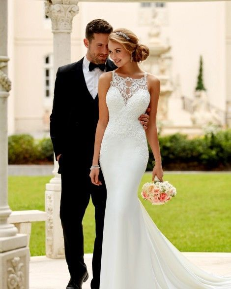 Style 6404 High Neck Fitted Wedding Dress By Stella York Bridal Caprice Stella York Wedding Dress High Neck Wedding Dress Wedding Dresses