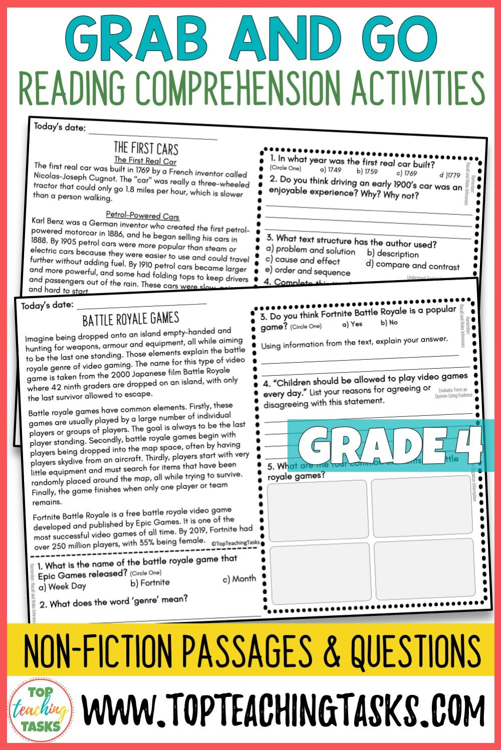- 4th Grade Reading Comprehension Passages And Questions Distance