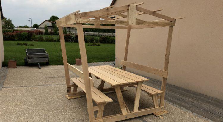 Table bois pique nique couverte - Atelier Passion du Bois ...