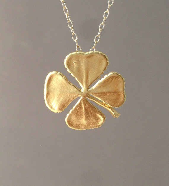 Gold Four Leaf Clover Necklace Also In Silver By Jennyandjude 25 00 Four Leaf Clover Necklace Clover Necklace Gold Leaf Jewelry