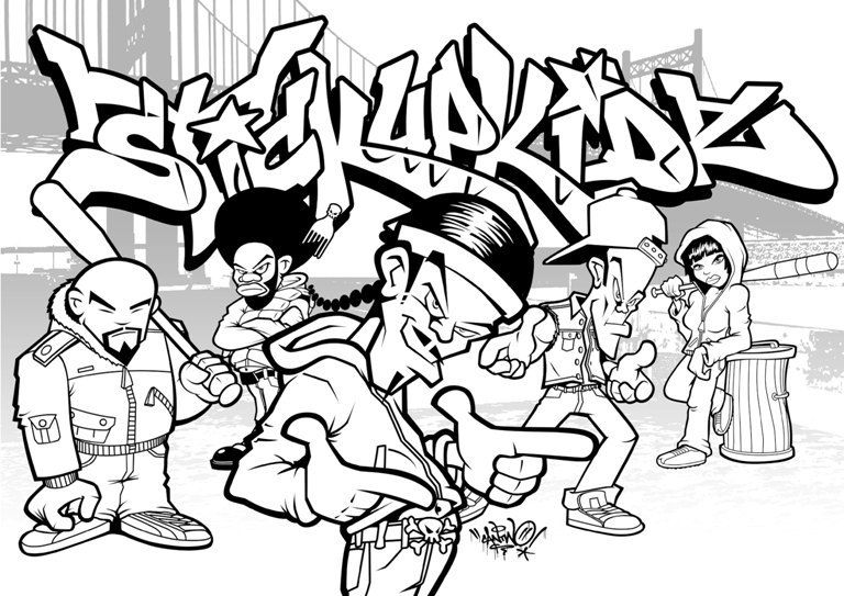 Graffiti style coloring pages