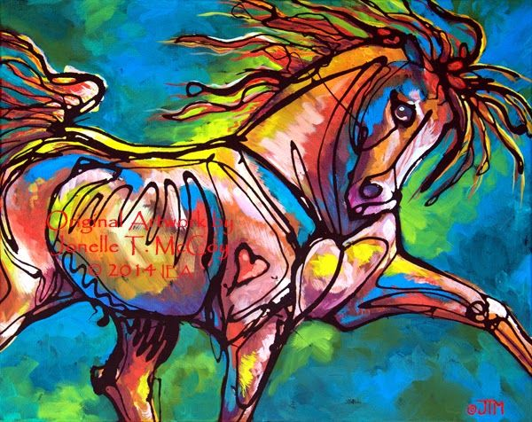 "Daily Painters Abstract Gallery: Abstract Horse Art by Oklahoma Contemporary Equine Artist Jonelle T. McCoy ""Blooming Everywhere"""