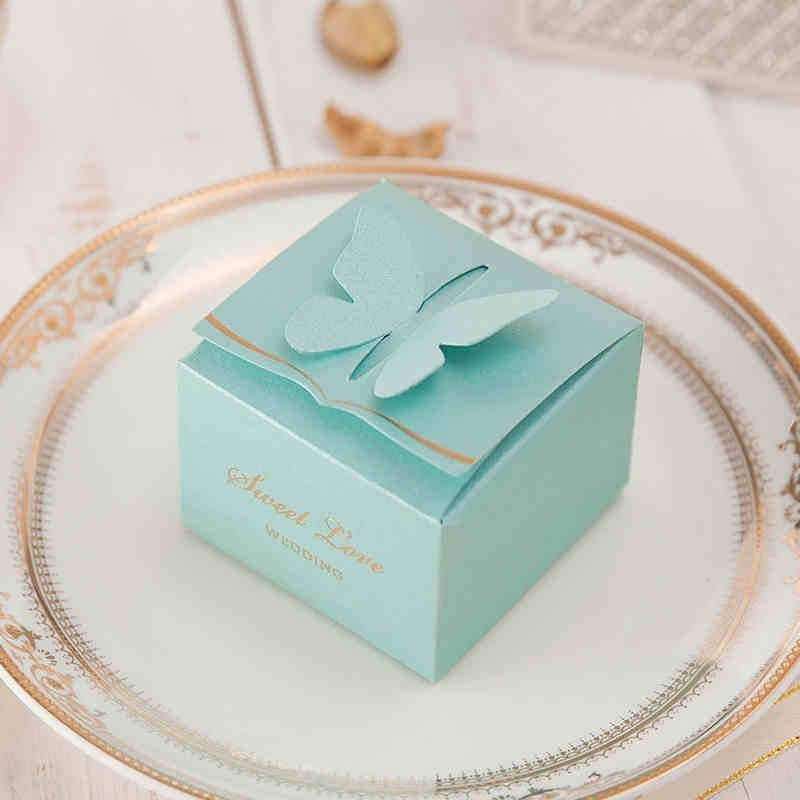 Tiffany Blue Butterfly Favor Box