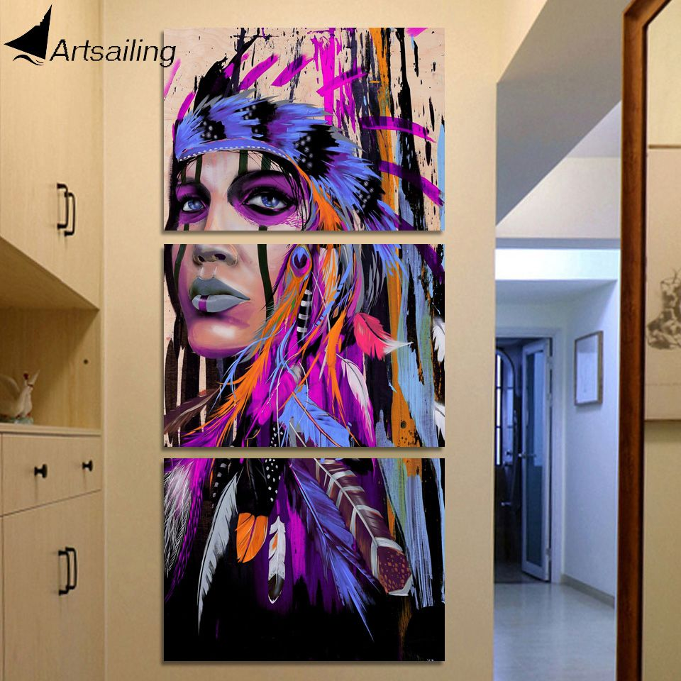 Check discount hd printed 3 piece canvas art native american indian art painting feathered wall art for living wall