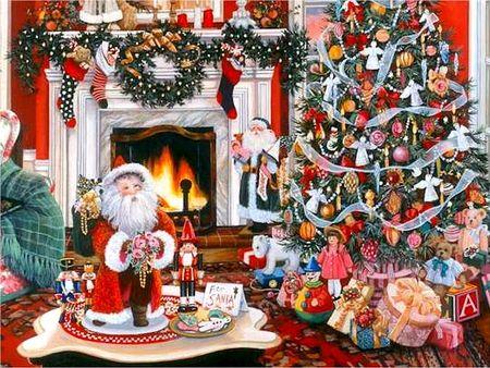 susan rios the warmth of christmas toy santa painting art rh pinterest com