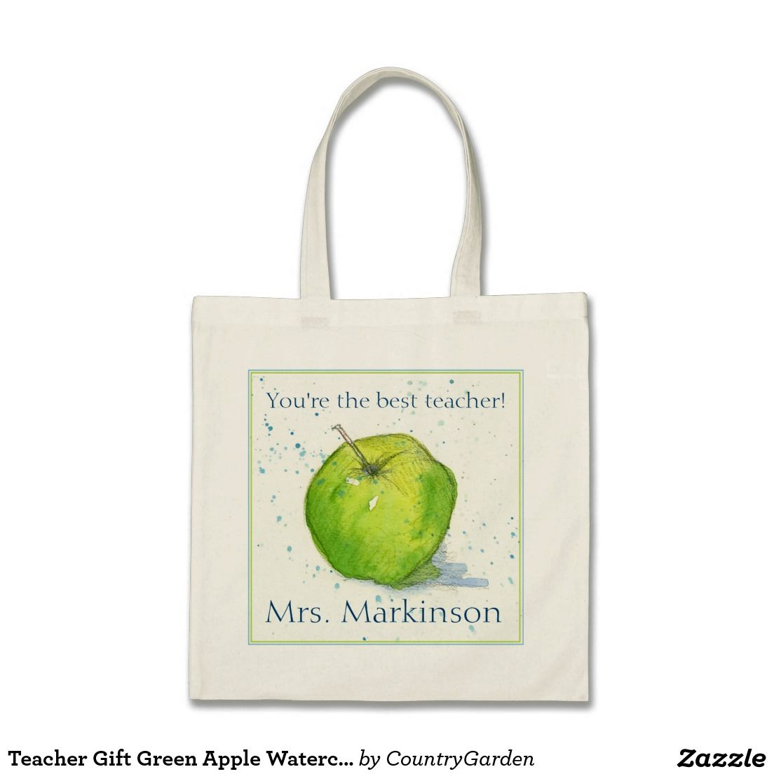 Teacher Gift Green Apple Watercolor Painting Tote Bag