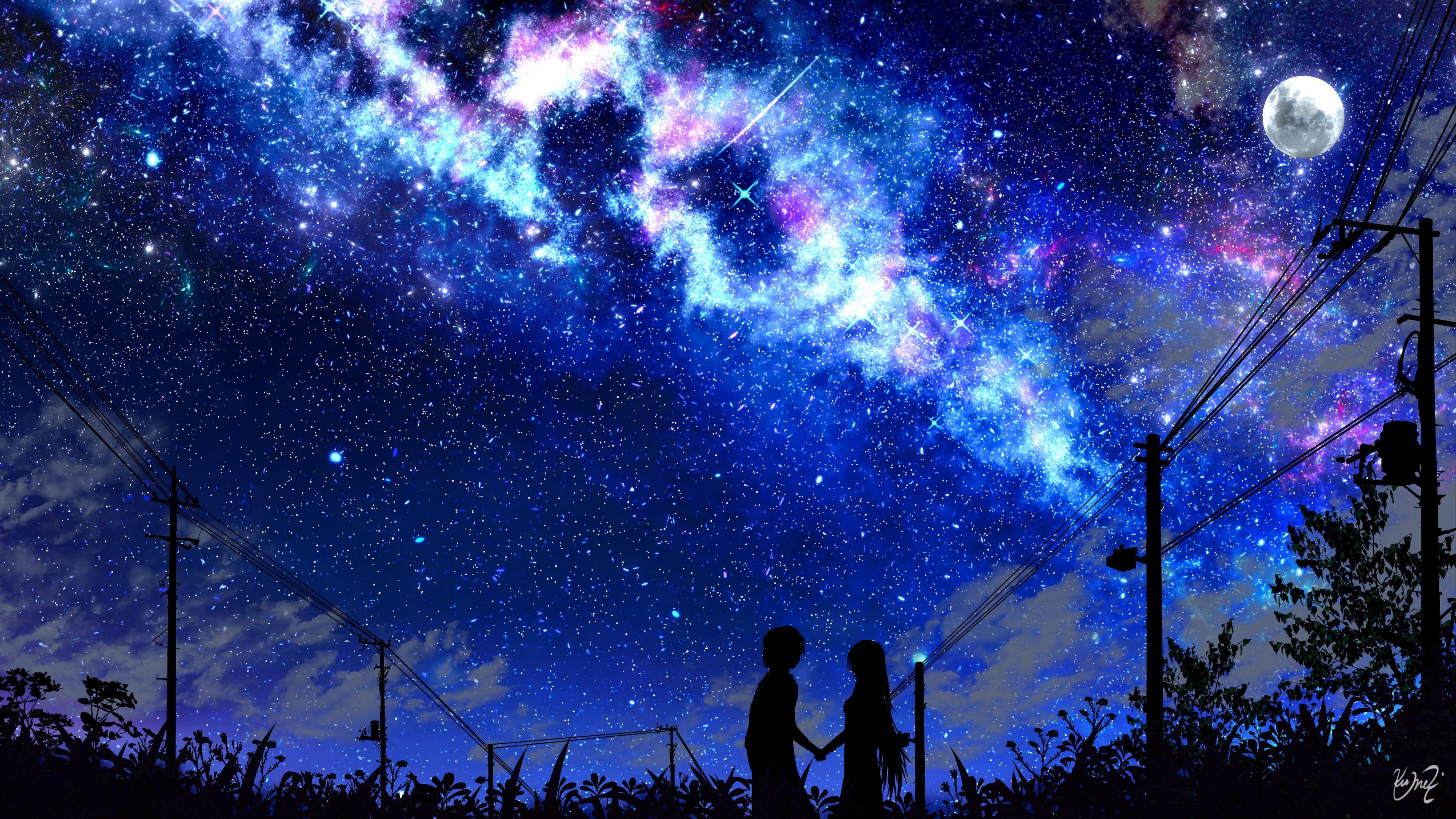 Download wallpaper 3840x2160 silhouette, night, starry sky