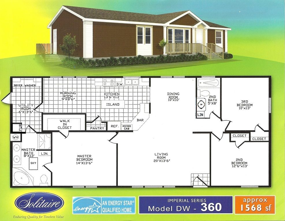 Floorplans For Double Section Manufactured Homes Solitaire Homes Mobile Home Floor Plans Double Wide Manufactured Homes House Floor Plans