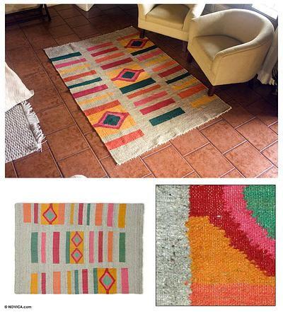 Fair Trade Geometric Wool Area Rug Colors