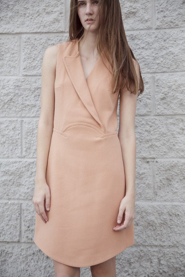 DOUBLE CREPE DRESS, BLUSH