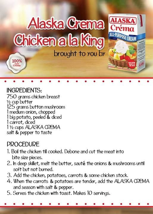 Chicken Ala King Alaska Crema With Images Chicken A La King