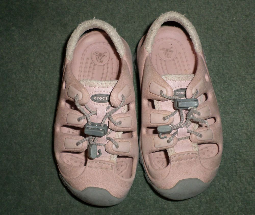 Little Girls Pink & Grey CROCS Pull Chord Rugged Style Shoes, Size 8/9, GUC! #CROCS #SlipOnPullChordRuggedStyleShoes