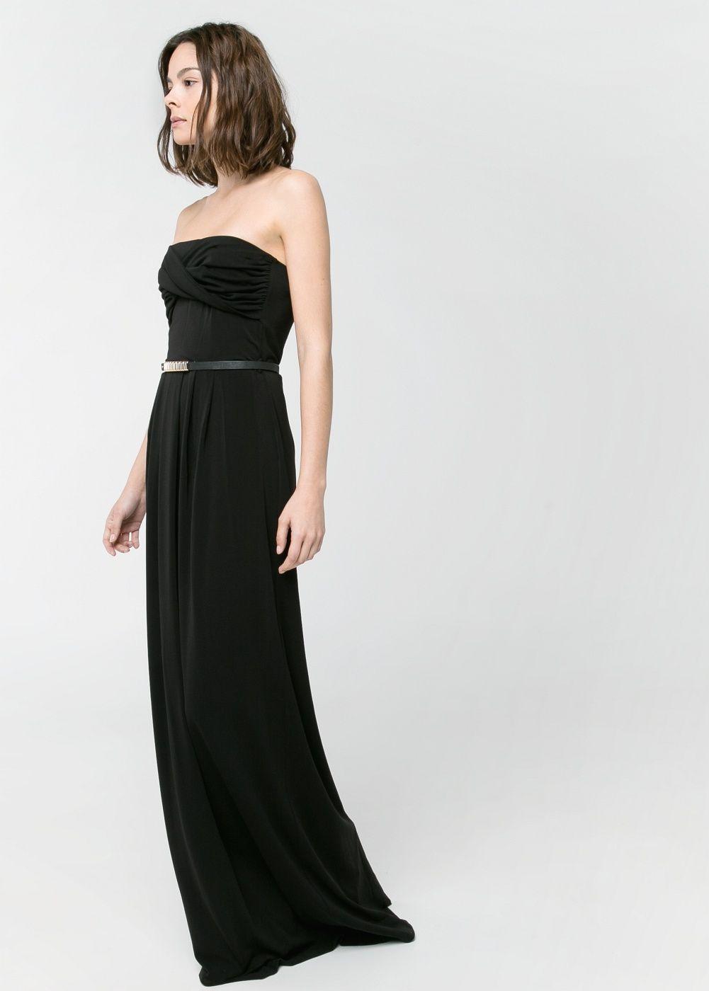 Kleid mit drapierung - Damen | Trägerloses kleid, Gürtel und Mango