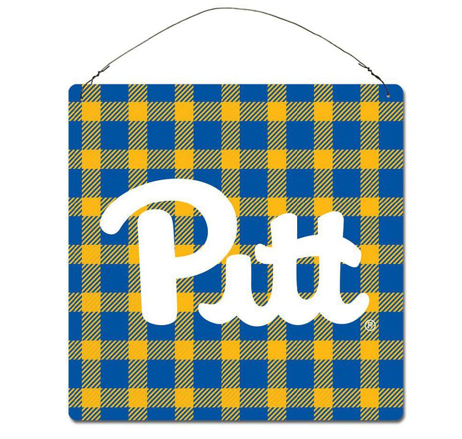 Plaid Pitt Script Tin Sign School Spirit University Store Spirit Gifts