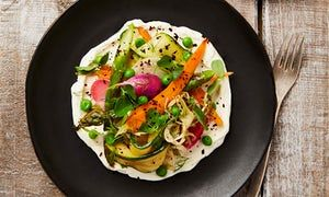 Yotam Ottolenghi's lightly pickled spring veg with wasabi and ginger cream; and Burrata with Sorrel and Pea Pesto