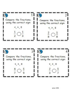 Middle School Moments: Students love Footloose! These are activity cards from our Comparing and Ordering Fractions Footloose game.