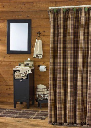 Rustic Retreat Shower Curtain Brown Rust Tan Cream Plaid Country