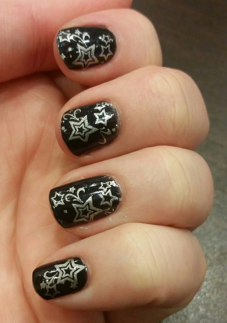 Super dark navy - looks black with silver stars! #nails #nailart ...