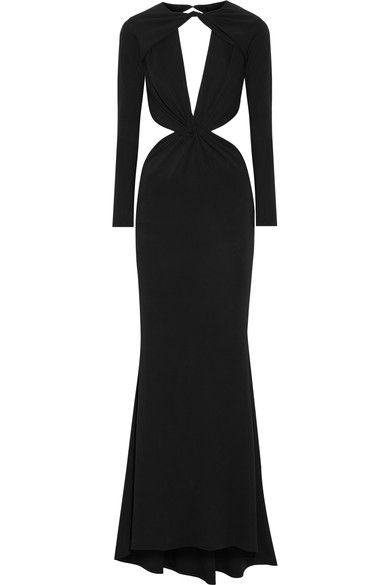 Cushnie et Ochs: Black stretch-jersey Hook-fastening keyhole at back  95% viscose, 5% elastane; lining: 93% silk, 7% elastane  Dry clean