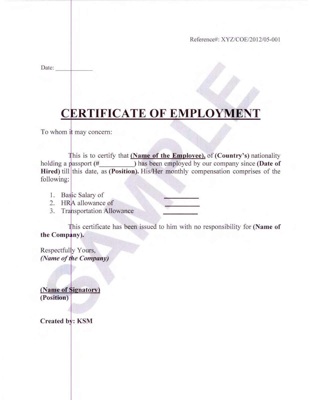 Certificate employment sample format fieldstation certificate employment sample format spiritdancerdesigns Choice Image