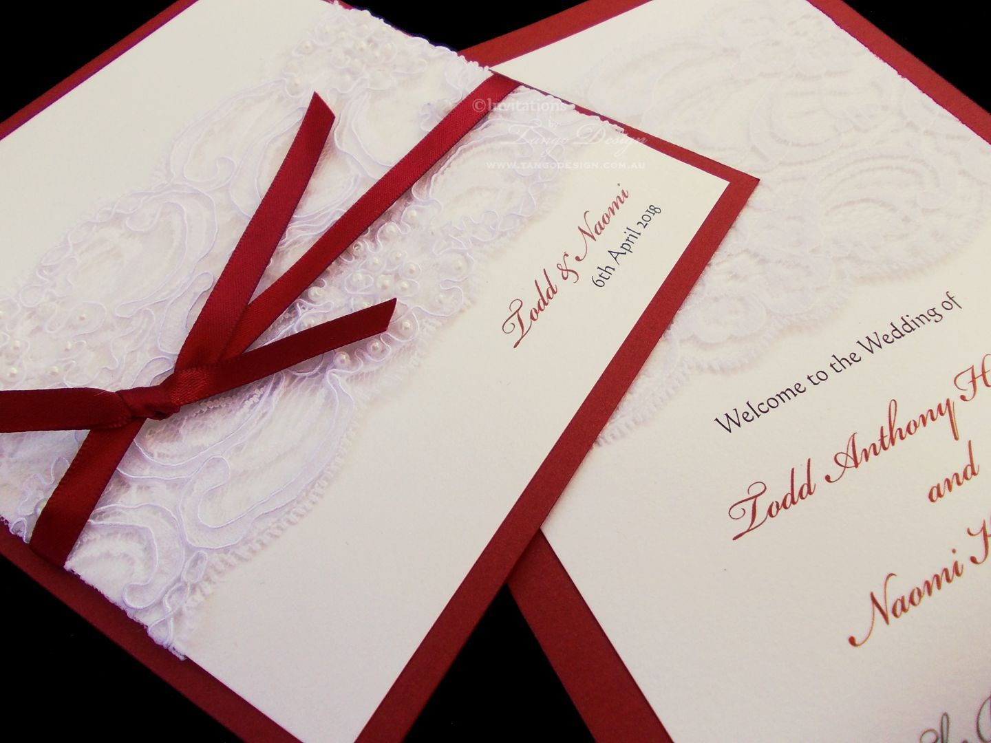 Burgandy or Marsala red wedding invitations with