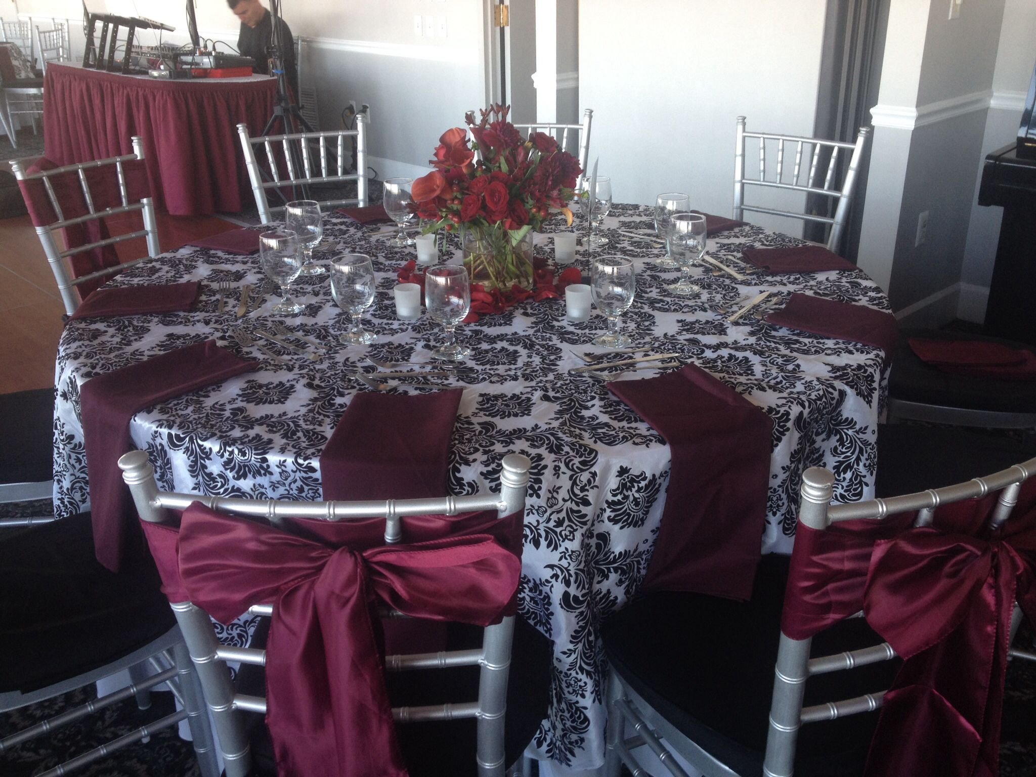 long table setup wedding reception%0A Table setting for  wedding reception by Teatime Delicacies  Inc