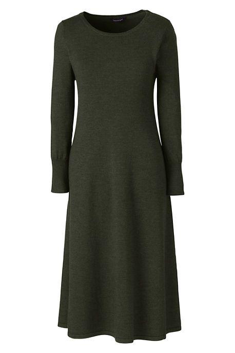 Womens Long Sleeve Dress in Merino Wool - 10 -12 - Green Lands End ELpRI5
