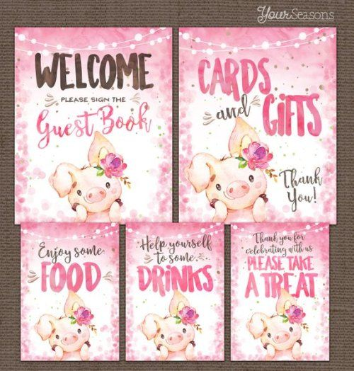 buy now baby shower table signs package pink pig printable baby rh pinterest com