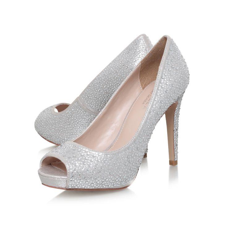Lara Jewel Silver High Heel P Toe Court Shoes By Carvela Kurt Geiger