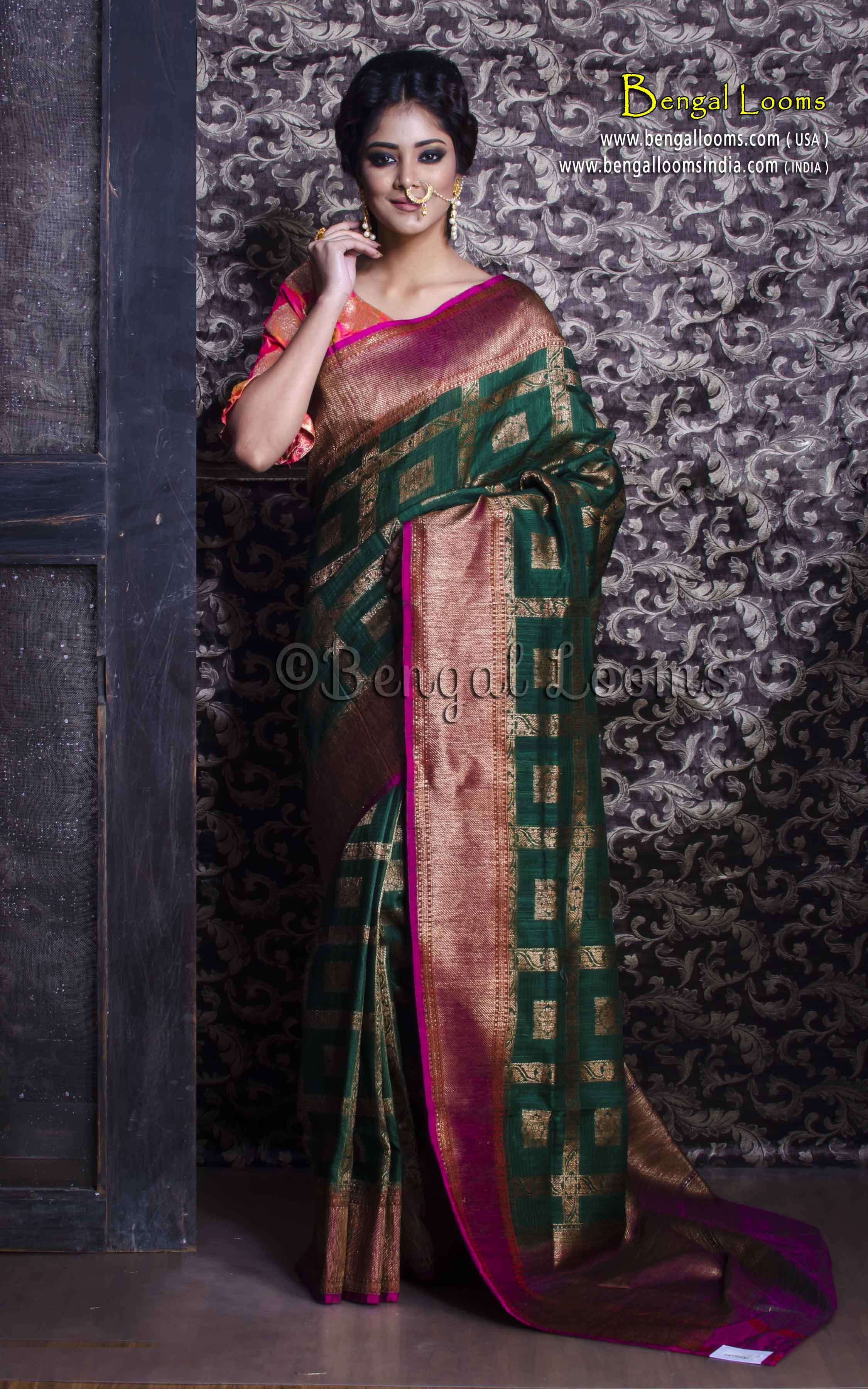 23ea25674d71e Pure Handloom Tussar Silk Banarasi Saree in Bottle Green and Rani ...