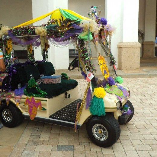 Decorate A Golf Cart For Mardi Gras Golf Carts Golf Cart Decorations Mardi Gras Decorations