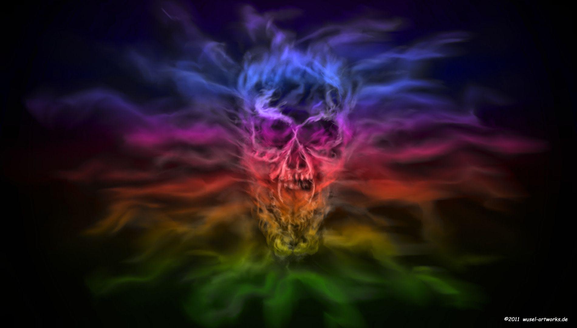 Rainbow Fire Flames | Wallpapers Skull Hd Rainbow Flame ...
