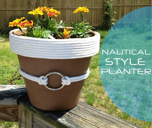 DIY Ideas | Nautical Rope Planter ~ Use rope to give an ordinary old terracotta pot a nautical vibe!