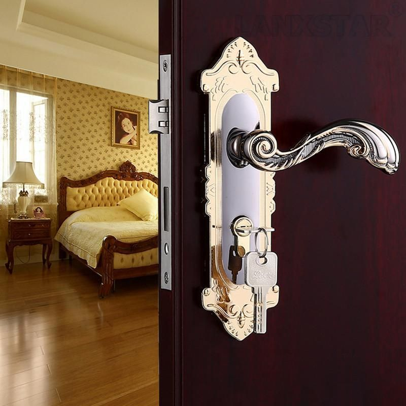 High Quality Gold W/ Black Color Zinc Alloy Handle Lock Room