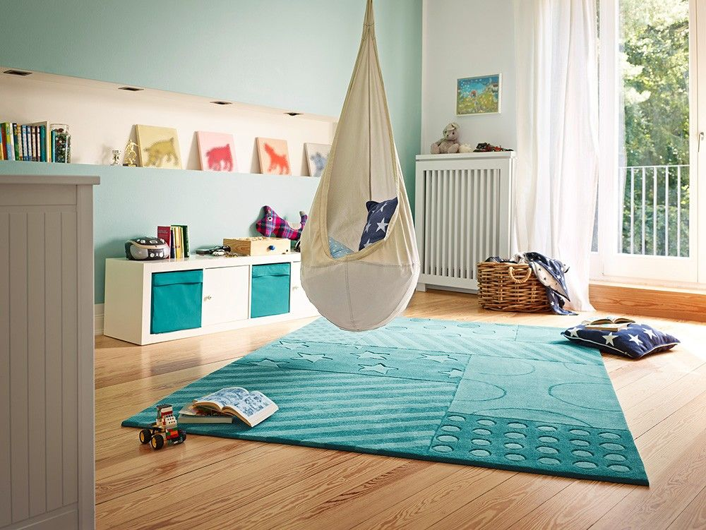 Tapis chambre enfant STARS AND STRIPES turquoise | Turquoise