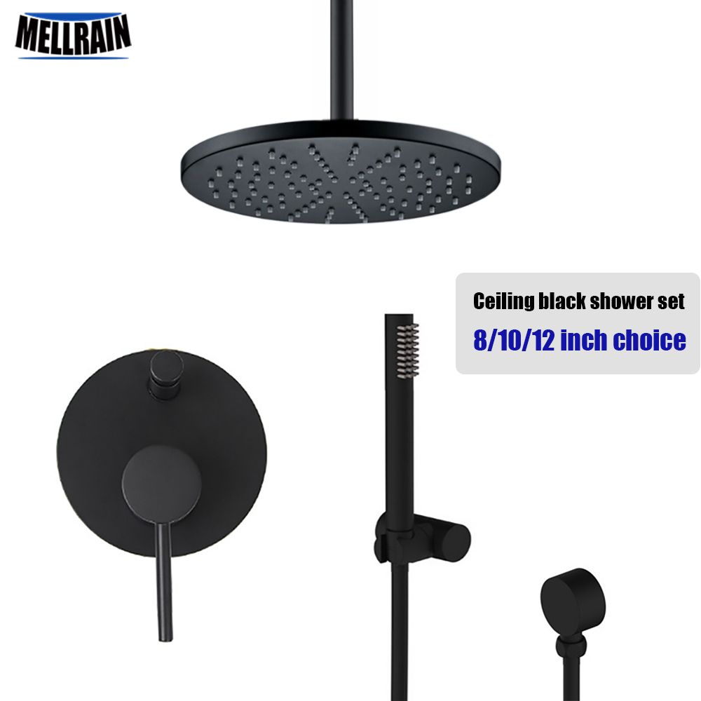 $300 Quality brass black ceiling mount shower set round rain shower ...